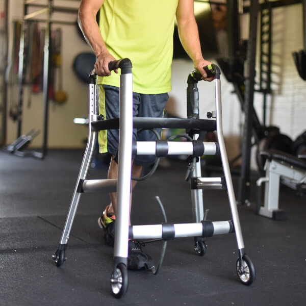 Expert gait training with upright walker bungee-support system